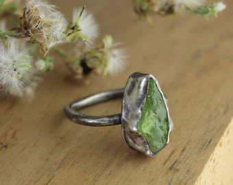 Rough peridot ring on square band, size 7 only - pear shaped, raw specimen, gemstone, vibrant celery green, one of a kind, oxidized