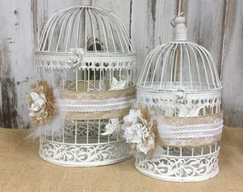 Wedding Card Holder-Card Box-Bird Cages=Handmade Shabby Chic Burlap and Lace Flowers-Rustic-Shower-Reception-Set of 2-Wedding Decor