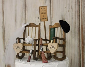 Hunting Wedding Cake Topper, Bride and Groom Wedding Chairs, Personalized Cake Topper, Country-Barn-Wooden-Rustic His and Hers Cake Topper