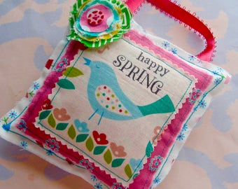 Happy Spring Stuffed Pillow Hanging Ornament Bird with Frayed Flower