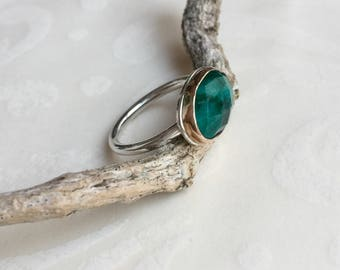 Emerald Ring,  Silver Stacking Ring, Gold and Silver Mixed Metals, Ring for Women, May Birthstone ring,  Emerald Jewelry