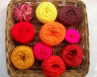 DESTASH- big grab bag assorted yarn 157g/5.6 ounces warm flame GB052017-2