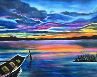 Left alone seascape at sunset with boat on special sale a excellent gift idea
