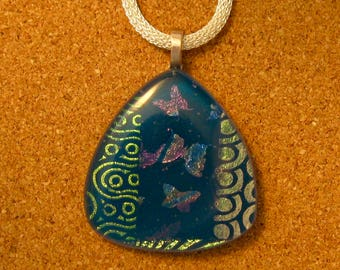 Dichroic Butterfly Pendant - Fused Glass Pendant - Dichroic Jewelry - Dichroic Necklace - Fused Glass Jewelry - Butterfly Jewelry