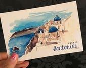 SANTORINI watercolor postcard / post-crossing