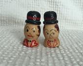 Vintage Wooden Salt and Pepper Shakers - Cute Men in Hats - Fun Vintage Kitchen decor