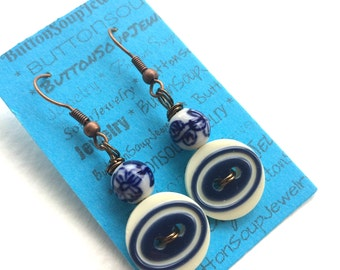 Royal Blue and White Patterned Bead and Button Earrings