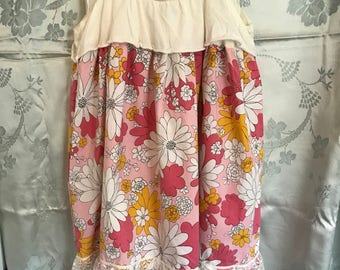Pretty Pink and Yellow Floral Vintage Sheet Pillowcase Top