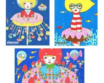Set of Postcard  -Blue2-