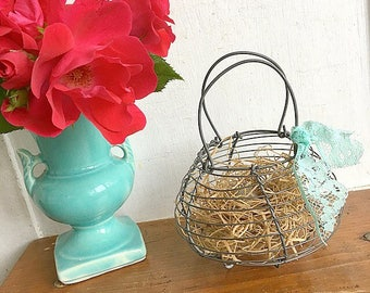 Dont Put All Your Eggs In One Basket... Vintage Petite Metal Wire Egg Basket Farmhouse Decor Rustic Primitive