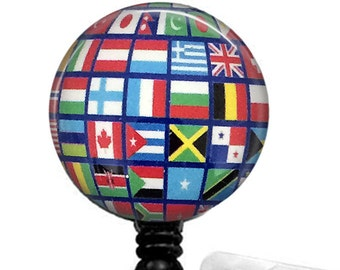 Flags of the World Retractable ID Badge Reel, Name Badge Holder 322