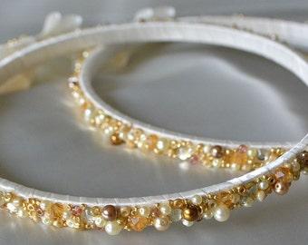 Ivory Stefana Crown, Gold Stefana, Orthodox Stefana, Greek Wedding Crowns, Greek Orthodox Stefana, Beaded Stefana, Pearl Stefana