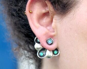 Handmade Ear Jackets, Opal Ear Jacket Earrings, Silver Opal Earrings, Opal Jewelry, Opal Cuff Earrings, Gemstone earrings, Something Blue
