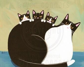 Tuxedo Mom and Kittens Original Cat Folk Art Acrylic Painting