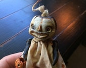 Halloween Tiny Trickster Masked Art Doll with Polka Dot Dress and Pumpkin Bucket