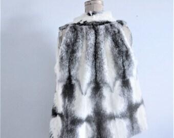 vintage  mink vest black and white mink fur