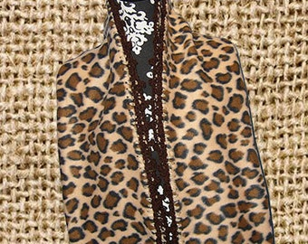 Fleece Scarf with Crocheted Edge, Muffler, Bufanda, Wide Style, Wild Leopard