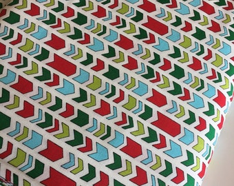 Christmas fabric, Arrow fabric, Holiday fabric, Moda fabrics, Cotton fabric by the Yard, Arrows in White,  Choose the cut