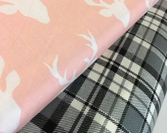 Black and White Plaid fabric, Hello Bear fabric, Buck Forest Pink, Grizzly Plaid, Baby Nursery- Fabric Bundle of 2, Choose The Cuts