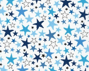 Star fabric, Kids fabric, Baby fabric, Cute Novelty fabric, Astronomy, Cotton fabric by the yard, Monster Stars in Park, Choose your cut