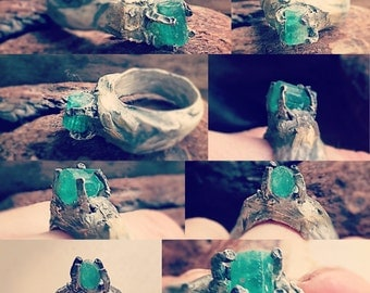in the enchanted emerald forest eco silver ring with 2 ct Columbian emerald crystal size 7 1/4
