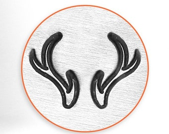 Design Stamps - ANTLERS - 2 stamps - Right and Left - 6mm stamped image by ImpressArt -  includes How to Stamp Metal tutorial