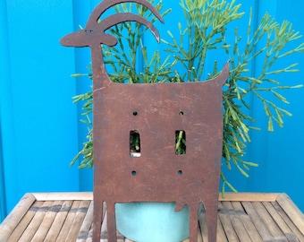 SALE-FREE SHIPPING-Vintage Handmade Steel Goat Double Light Switch Plate-Folk Art-Farmhouse-Rustic Decor-Goat/Ram/Antelope Switch Plate