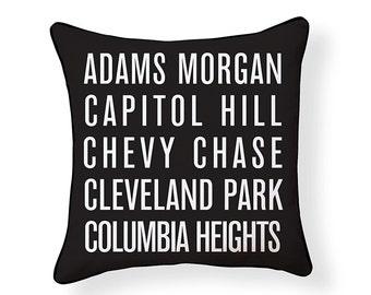 District of Columbia Neighborhoods Pillow