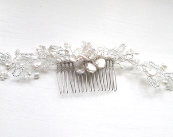 Bridal Hair Accessories/ Wedding headwear/ Handmade freshwater pearl seed bead silver bridal hairvine