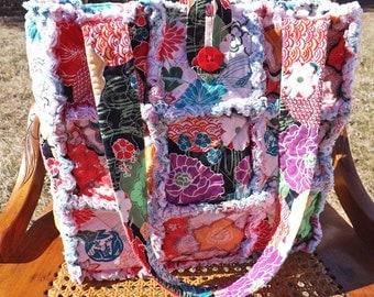 Rag Quilt Tote - Flowers - Floral Tote - Bright Colors - Handmade - Handbag