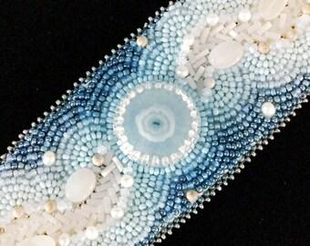 River of Time Solar Quartz Eye Cuff with Moonstones, Pearls, Satin Crystals Boho Chic Wedding Gypsy