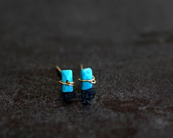 Turquoise studs, turquoise bar earrings, December birthstone earrings Baguette VitrineDesigns Under 75