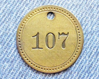 Painted Number 107 Brass Tag Motel Room Check Id Retro Antique Keychain Key Ring Fob Token