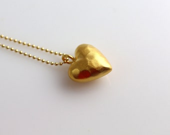 Gold Heart Necklace - Hammered - Heart Necklace - Made to Order