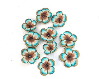 Teal Flower Beads, Brown and Turquoise Flower Beads, Polymer Clay Beads, 10 pieces