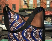 Brown and Blue African Wax Cloth and Canvas Market Bag, Cross body Messenger Bag, Lightweight Shoulder Tote