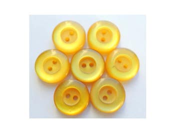 50 Antique vintage lucite plastic buttons  yellow 15mm, can be use as beads for button jewelry