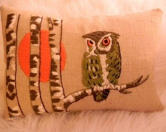 linen owl and birch tree pillow cover 12x16