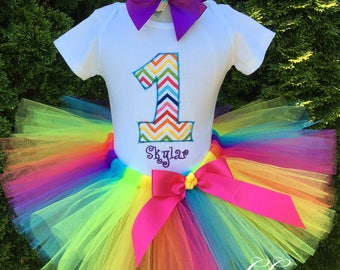Rainbow Tutu, Personalized First Birthday Outfit Girl, 1st Birthday Girl Outfit, Girl First Birthday Outfit, 1st Birthday Girl, Cake Smash