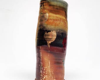 wood fired vase with poppy decals