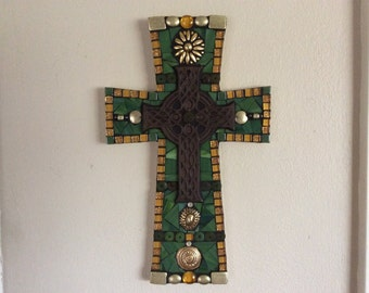 Mosaic Cross Green and Gold