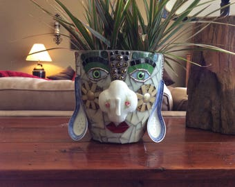 "Mosaic Crazy Face Planter her name is ""Cleopatra"""