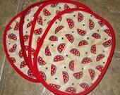 Red Watermelon Print Potholders Set of 2