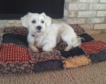 Custom Order Ashlawnfarms Rag Quilt Dog Cat Pet Bed MEDIUM size