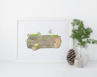 Nurse Log Art Print / Forest Art Print / Pacific Northwest Art / Cabin Decor / Woodland Art Print / Lodge Decor / Watercolor Art Print