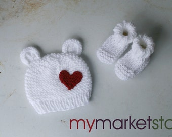 Polar Bear Baby Hat w/Valentine's Day Heart and Optional Matching Booties/Newborn or 1-3 Months/White/Ready-to-Ship