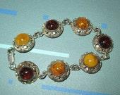 Vintage FAB Egg Yolk and Butterscotch Amber and Filigree Sterling Silver Segment Bracelet