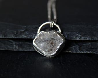 Herkimer Diamond Sterling Silver Necklace #002 | Handmade Bezel Crystal Pendant | Minimalist Boho Bohemian | Gugma Jewelry Women's