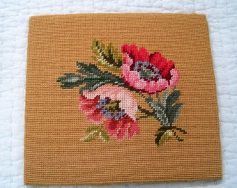 Vintage Needlepoint Floral Pink Poppies on Gold Background Complete Light Pink Fuschia Green Blue