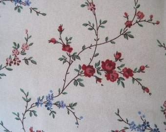 Home Decor Fabric Delicate Floral Pattern Red Blue Green 5th Avenue Designs Covington 3 Yards x 54""